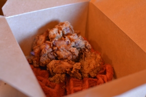 Fried Chicken and Red Velvet Waffles